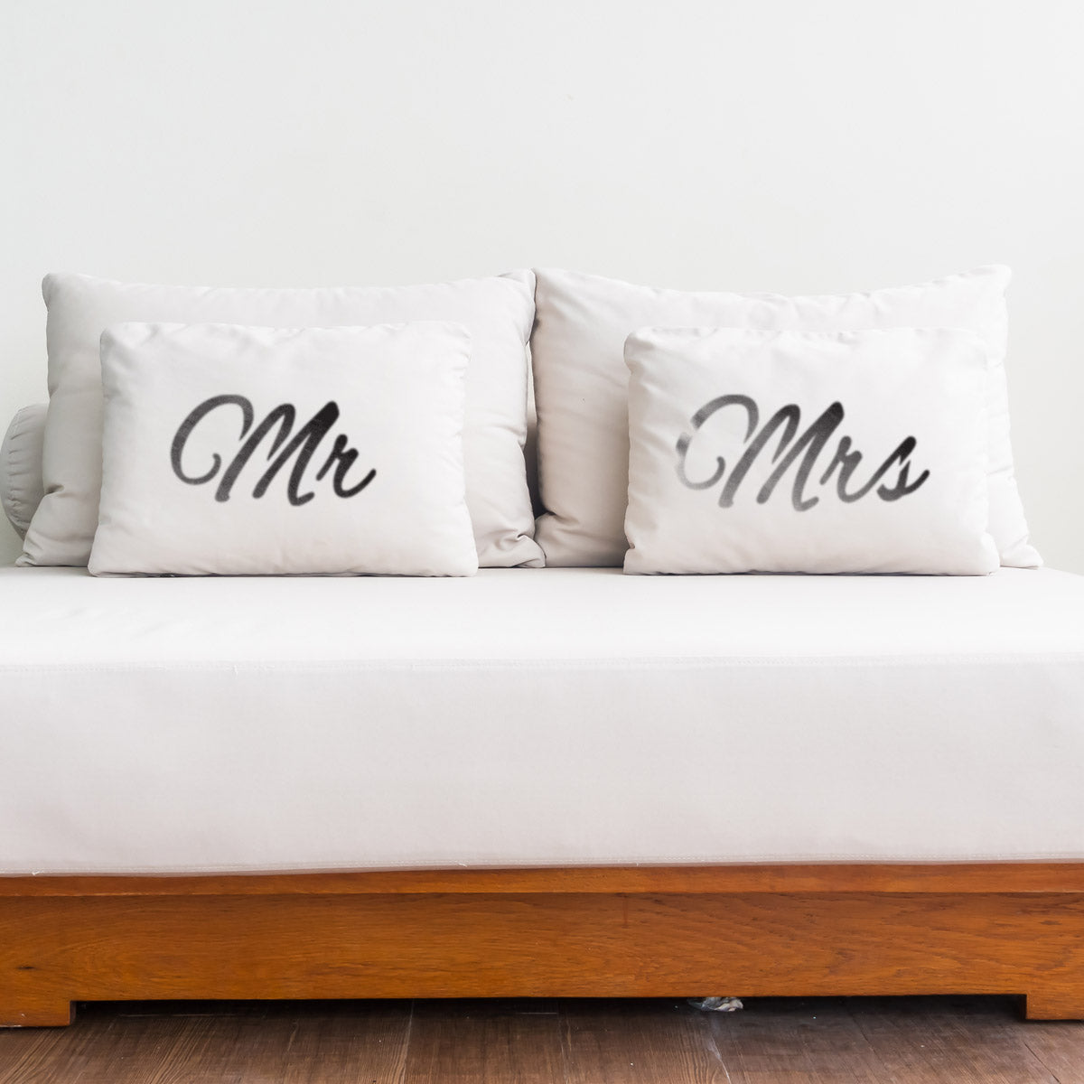 CraftStar Large Mr & Mrs Words Stencil in bedroom
