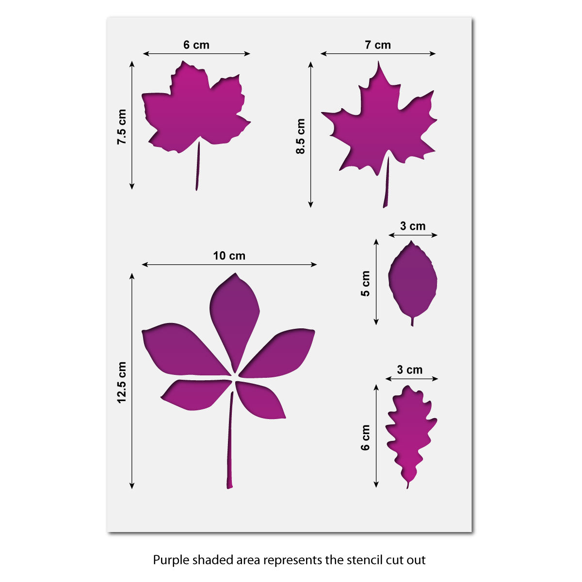 CraftStar Leaf Stencil Set - Size Guide