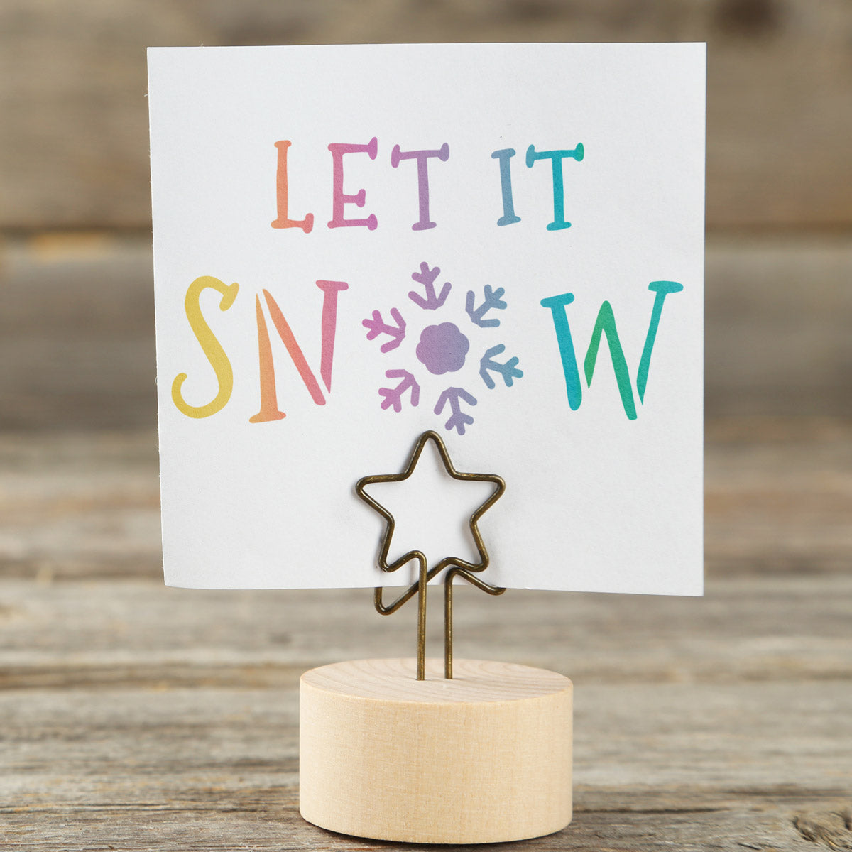 CraftStar Let It Snow Christmas Text Stencil on Card