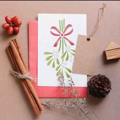 Craftstar Mistletoe Stencil on Card