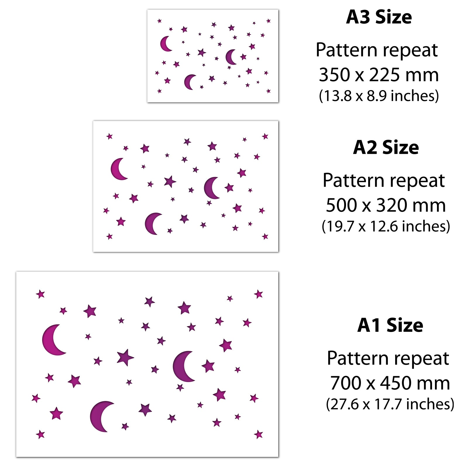CraftStar Moon and Stars Pattern Stencil size guide