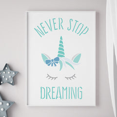 CraftStar Never Stop Dreaming Unicorn Stencil in frame