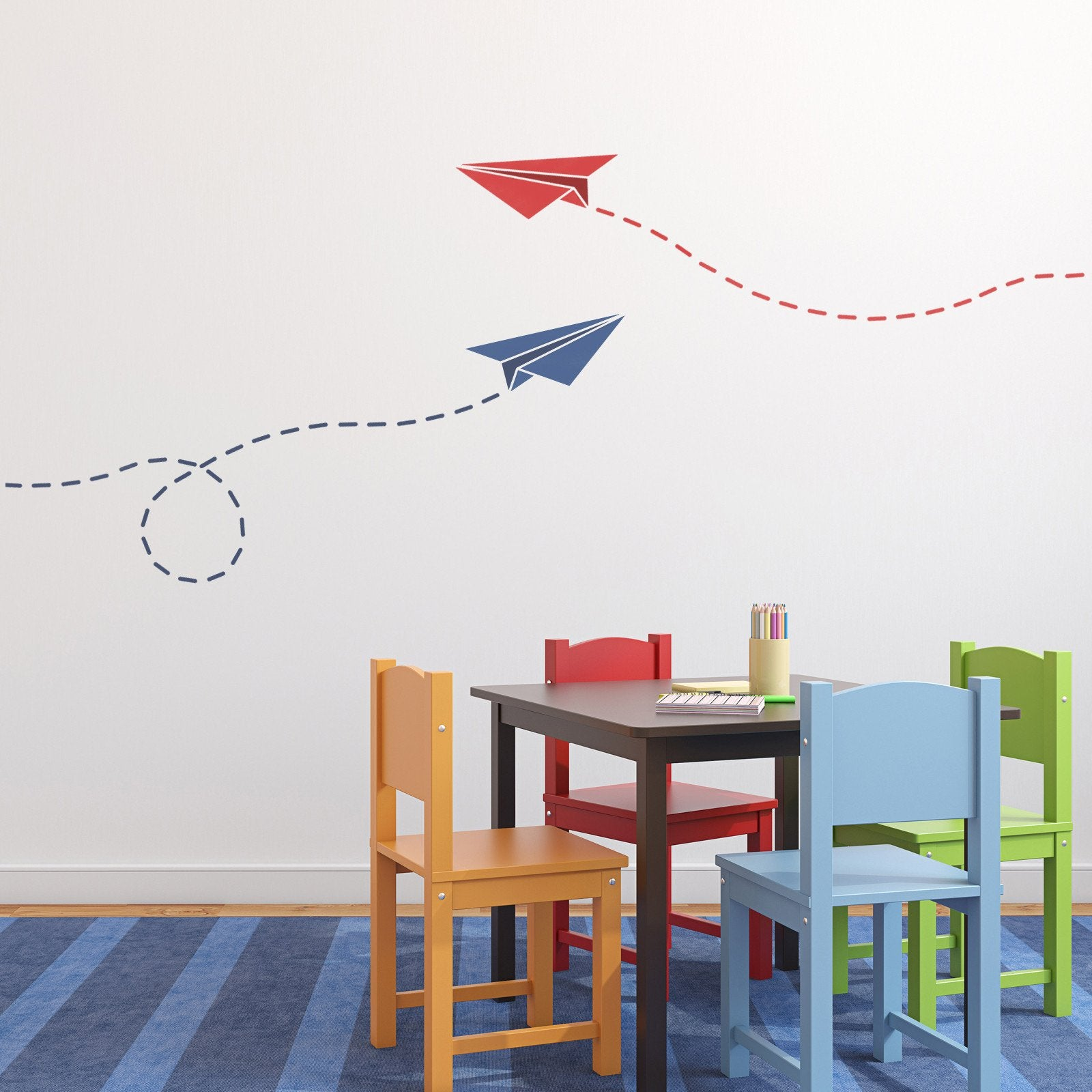 CraftStar Paper Plane Stencil in Kids Playroom