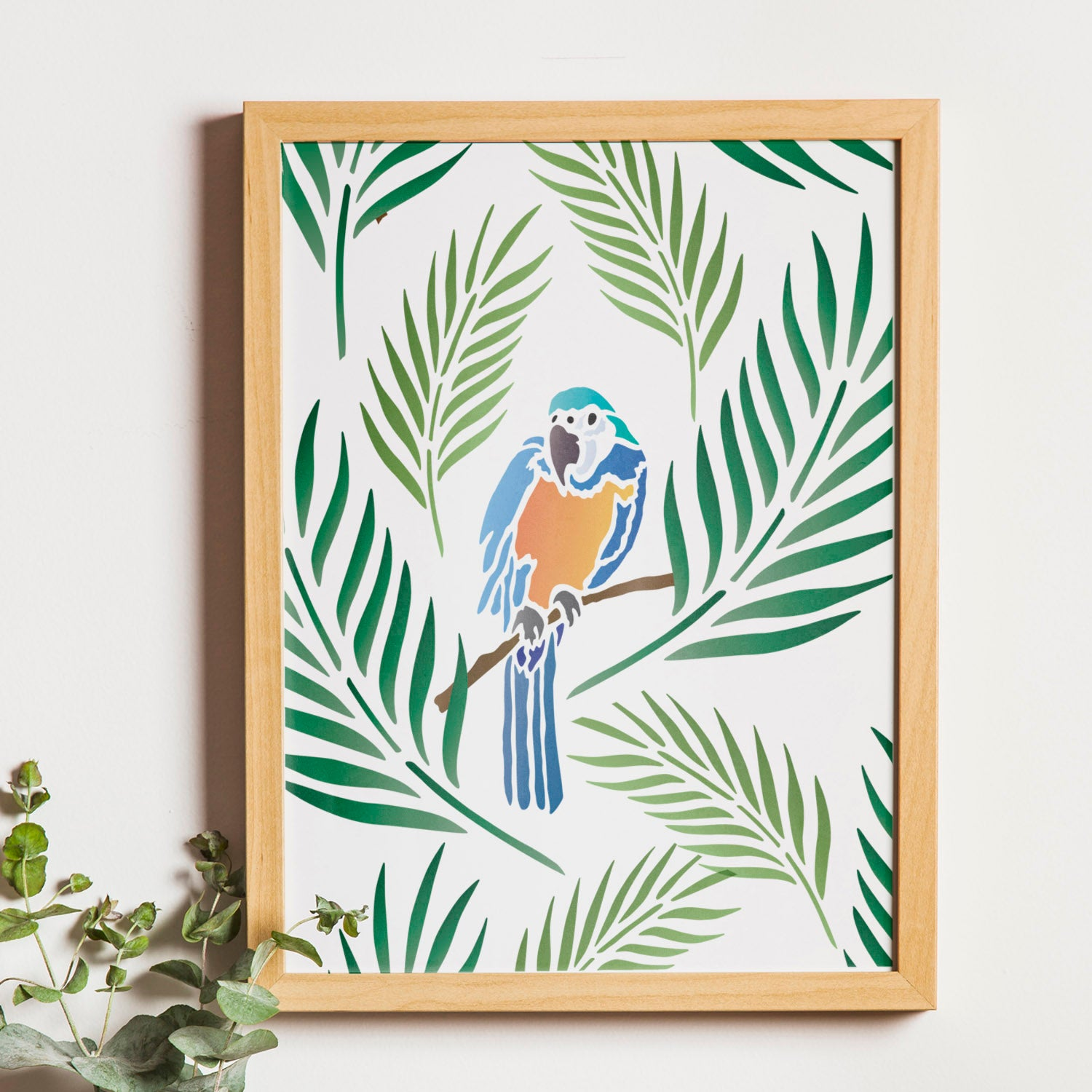 CraftStar Parrot and Palm Leaf Stencil as framed print