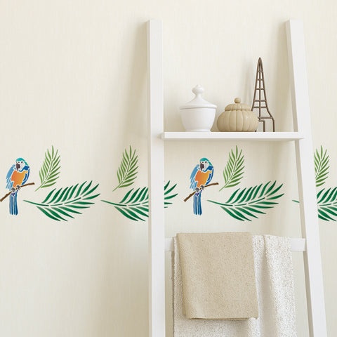 CraftStar Parrot and Palm Leaf Stencil on Wall