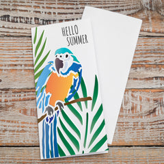 CraftStar Parrot and Palm Leaf Stencil on card