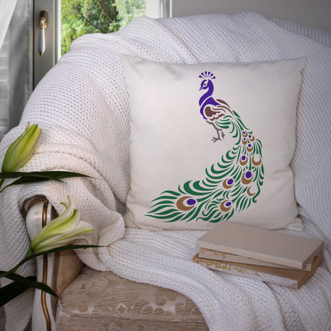 CraftStar Peacock Stencil on Cushion