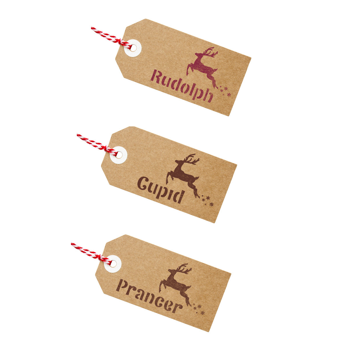 CraftStar Santa's Reindeer Names Stencil on Gift Tags