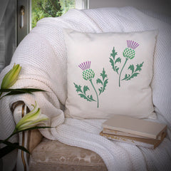 CraftStar Scottish Thistle Stencil on Cushion