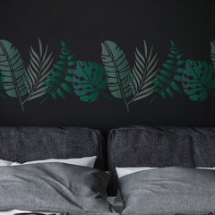 CraftStar Tropical Leaf Stencil Set on Bedroom Wall