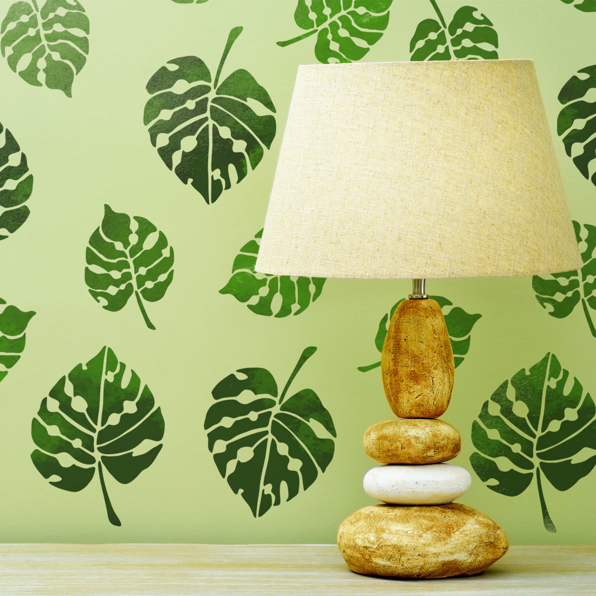 CraftStar Monstera Leaf Stencil Set on Wall