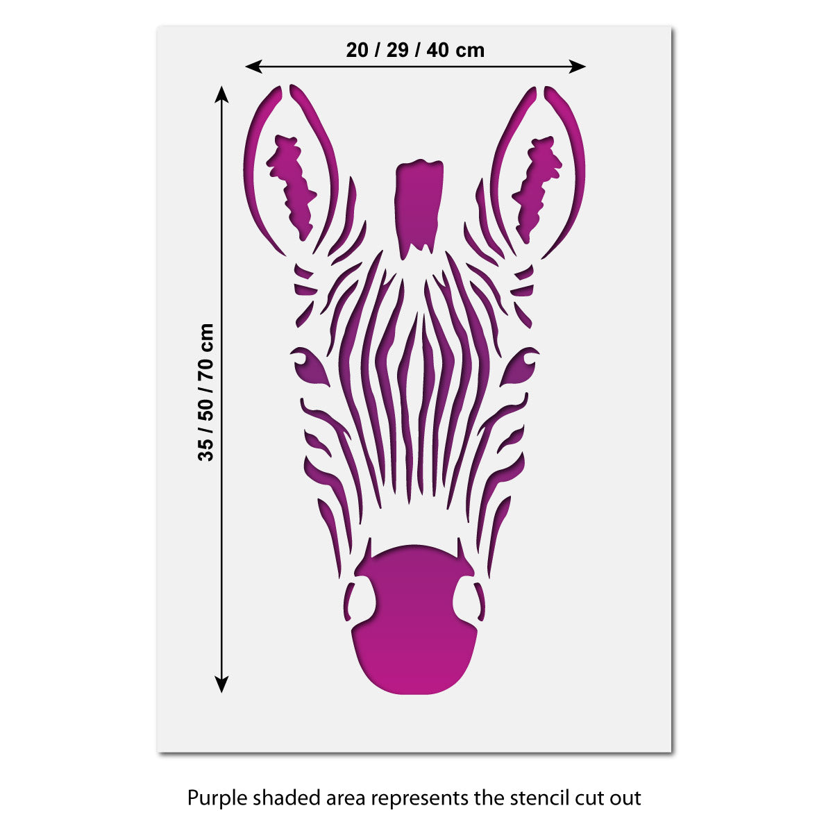 CraftStar Zebra Head Wall Stencil - Size Guide