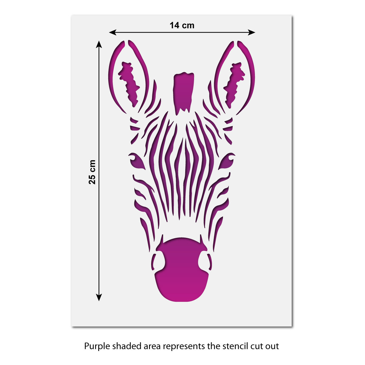 CraftStar Zebra Head Stencil - Size Guide