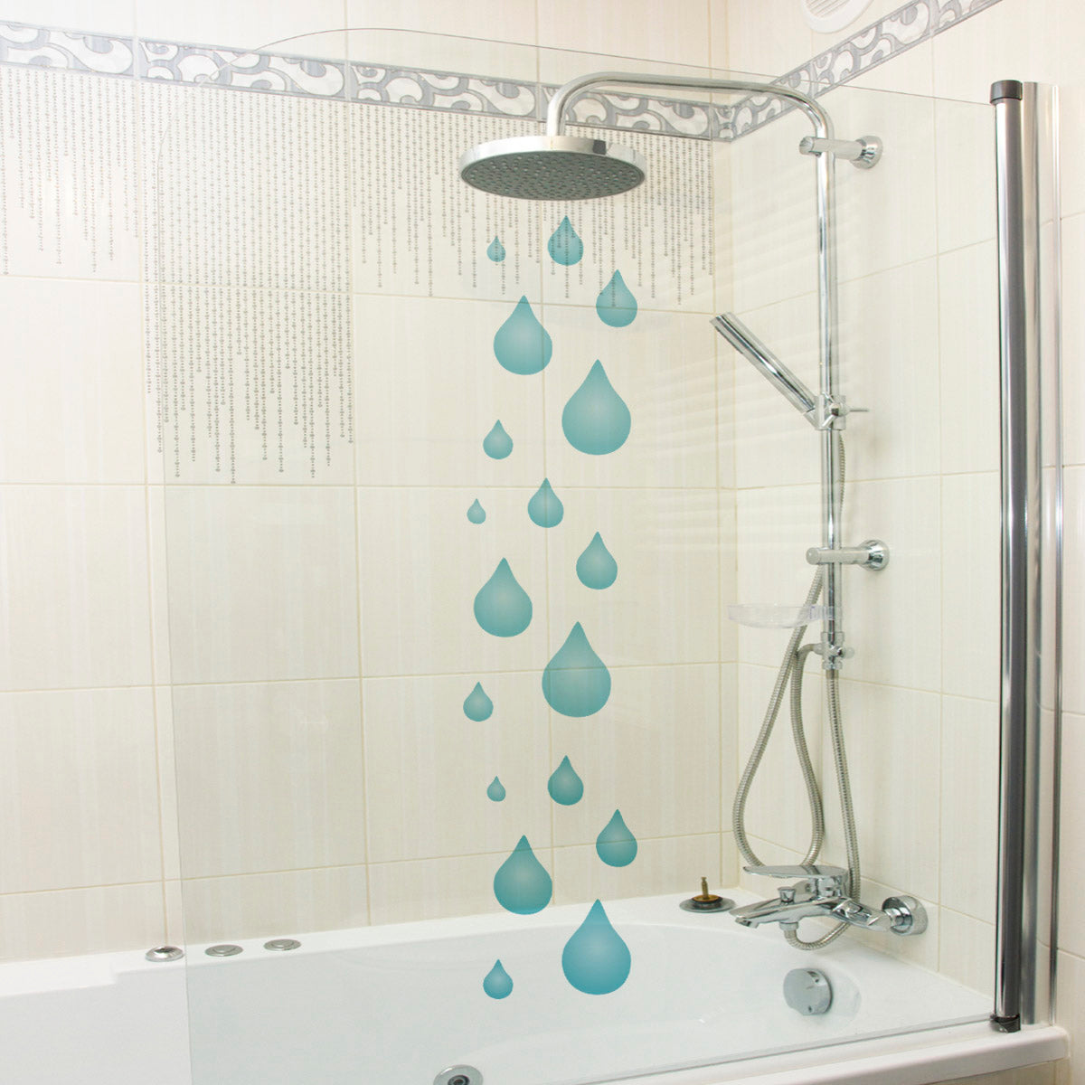 Craftstar Raindrops Stencil on Shower Screen