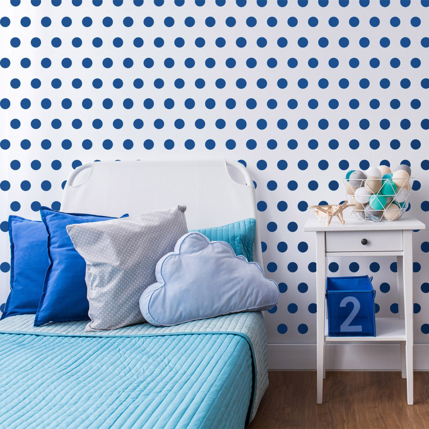 Small Polka Dot Seamless Pattern Stencil in teen room