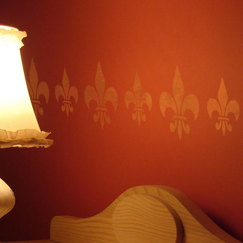 CrafStar Classic Fleur De Lys Stencil Set on bedroom wall
