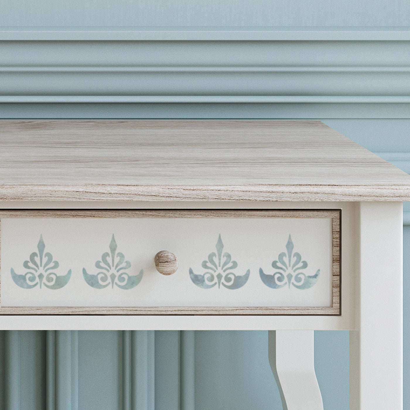 CraftStar Ornate Fleur De Lys Stencil on furniture