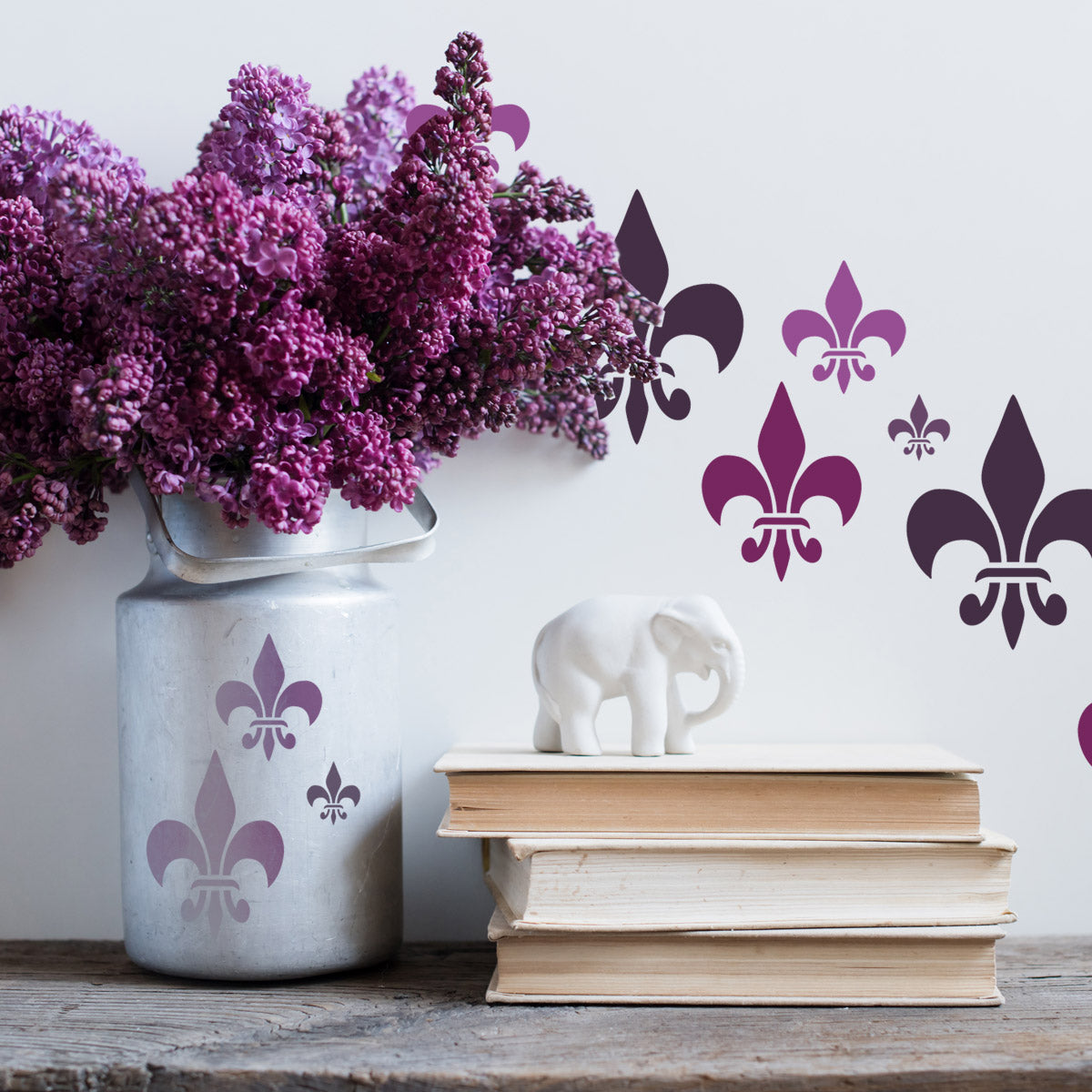 CrafStar Classic Fleur De Lys Stencil Set in Purples