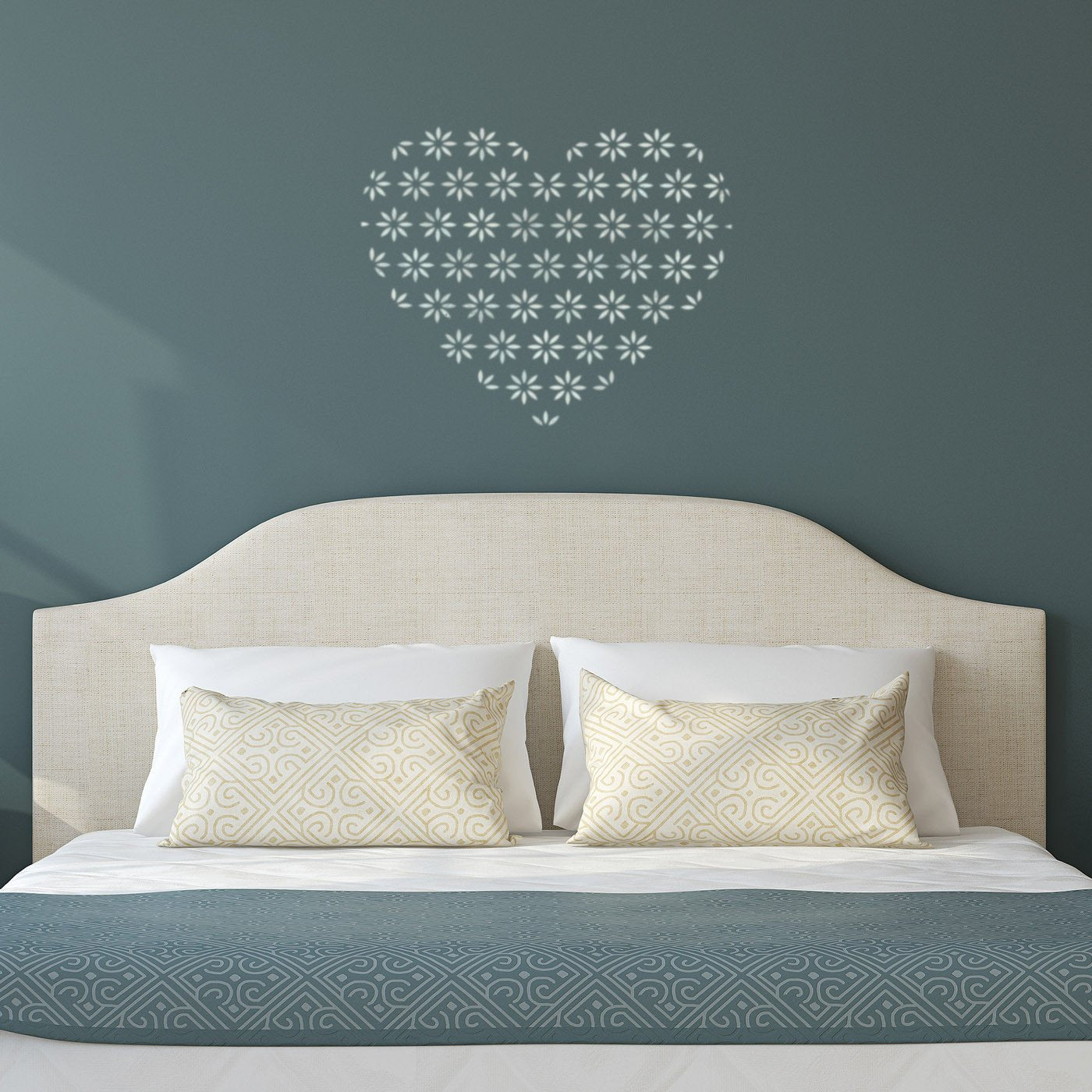 CraftStar Flower Pattern Heart Stencil on Bedroom Wall