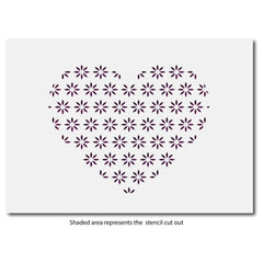 CraftStar Flower Pattern Heart Stencil layout