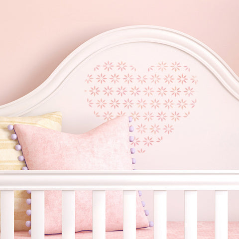 CraftStar Flower Pattern Heart Stencil in nursery
