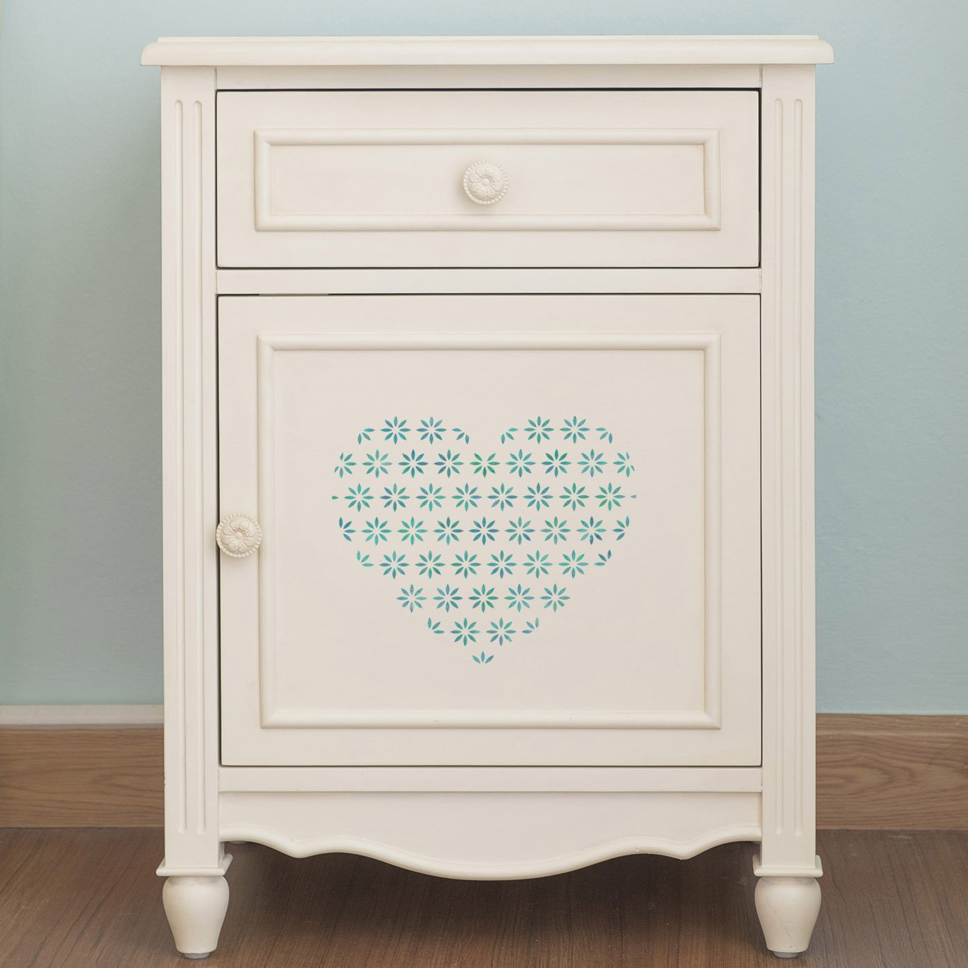 CraftStar Flower Pattern Heart Stencil on furniture