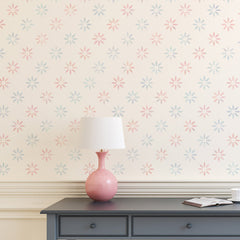 CraftStar 5 cm Flower Pattern Wall Stencil in pinks and blues