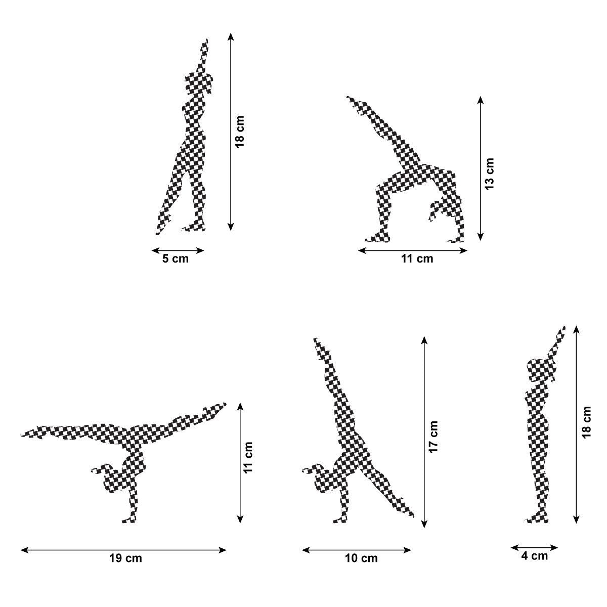 CraftStar Walkover Gymnast Stencil Set - Size Guide