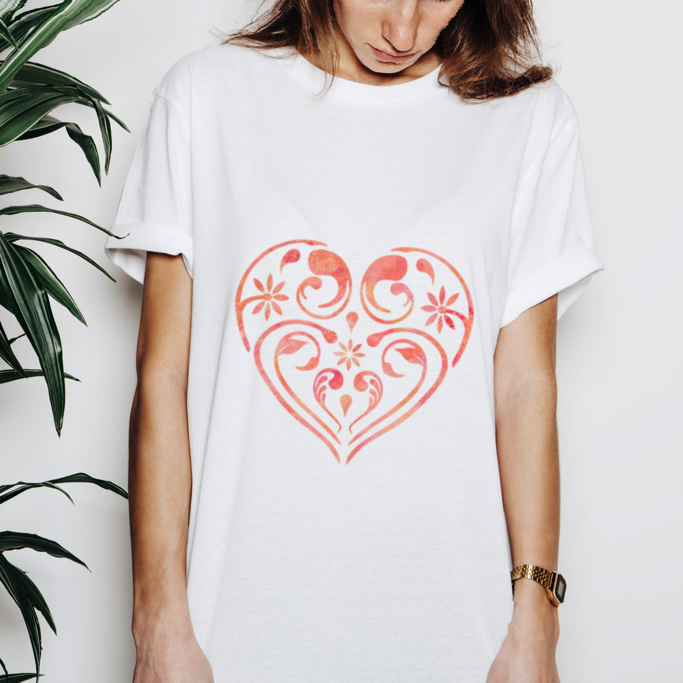 Flourish & Flower Pattern Heart on Tshirt - CraftStar