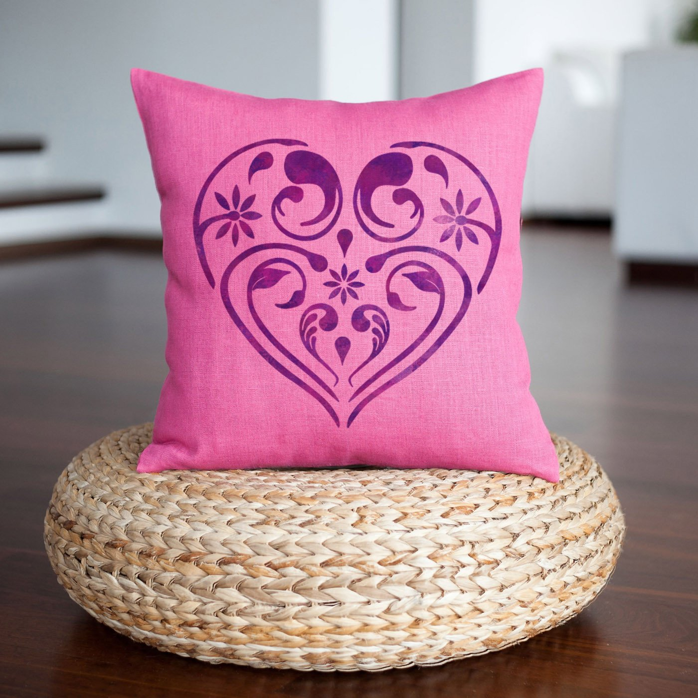 CraftStar Flourish & Flower Heart Stencil on a cushion