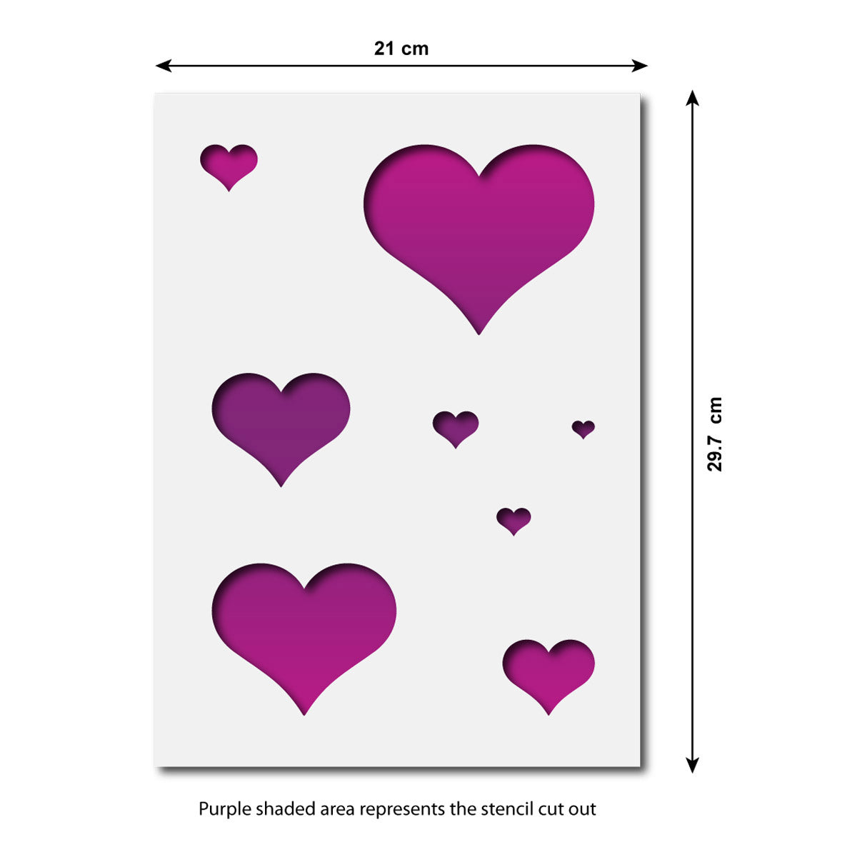 CraftStar Hearts Stencil Set - Size Guide