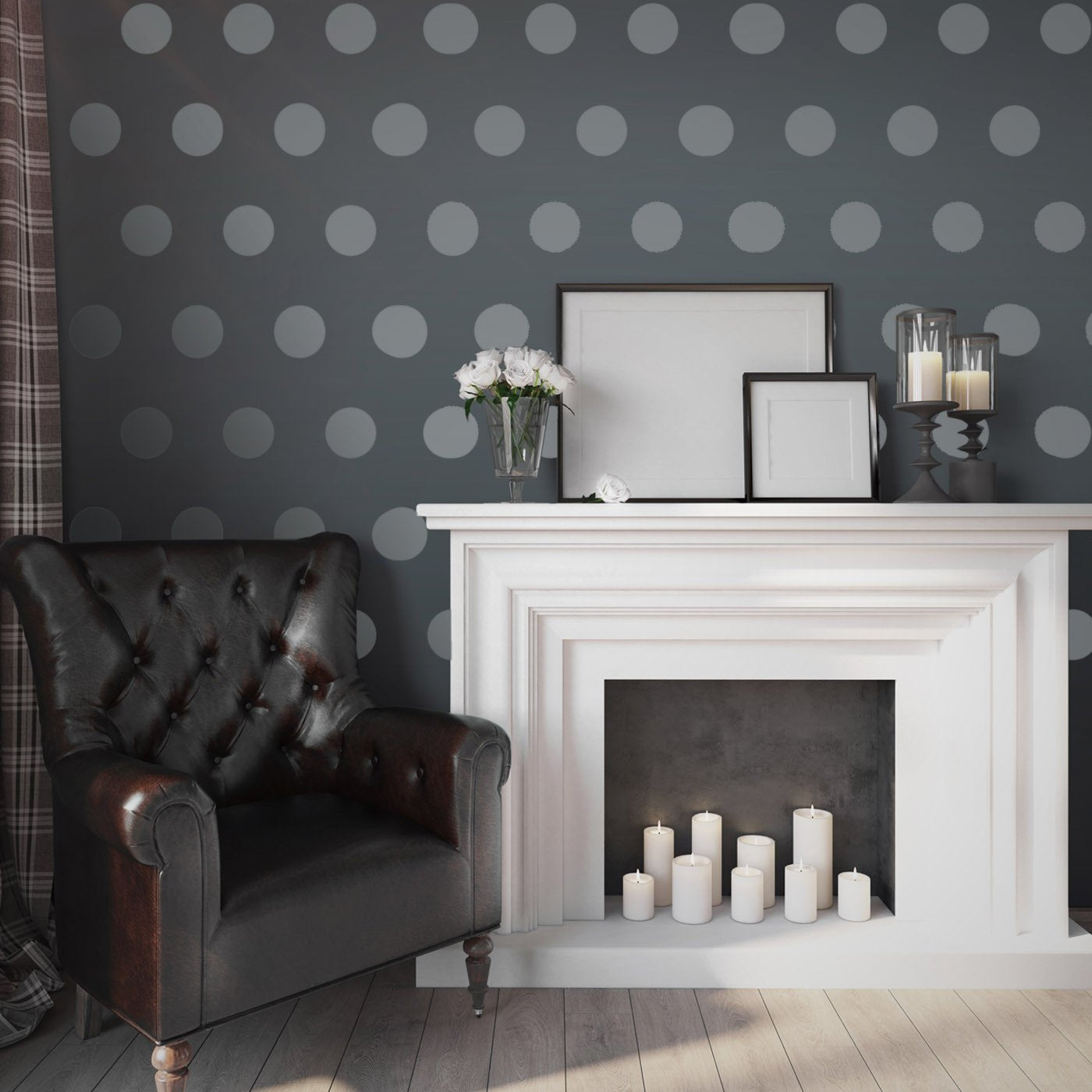 Large Polka Dot Pattern Wall Stencil in living room