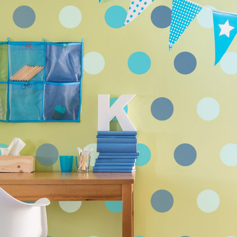 Large Polka Dot Pattern Wall Stencil in Blues