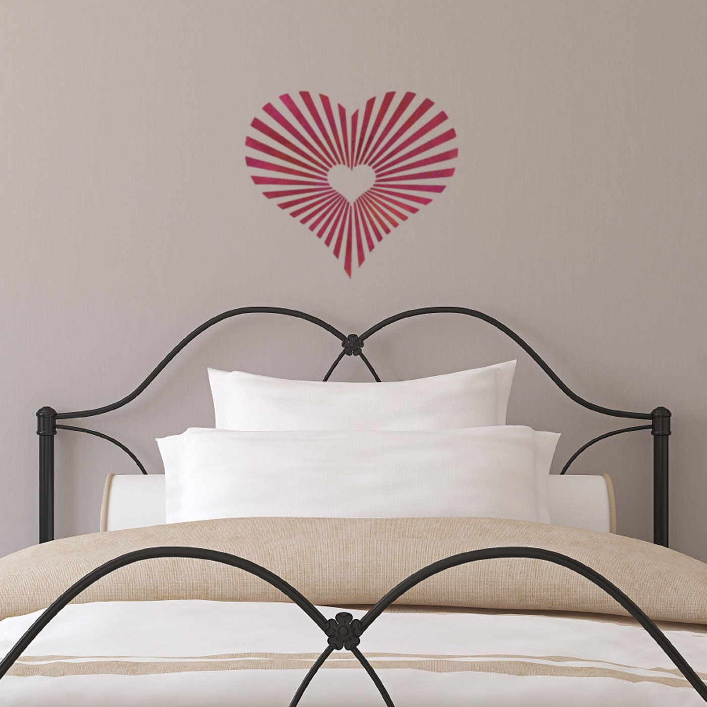CraftStar Sunburst Heart Pattern Stencil on Wall