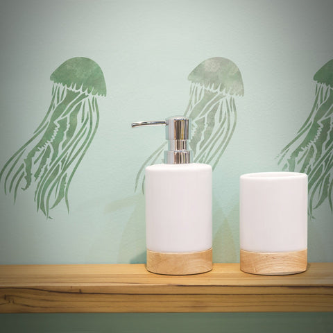 CraftStar Mauve Stinger Jellyfish Stencil in Bathroom
