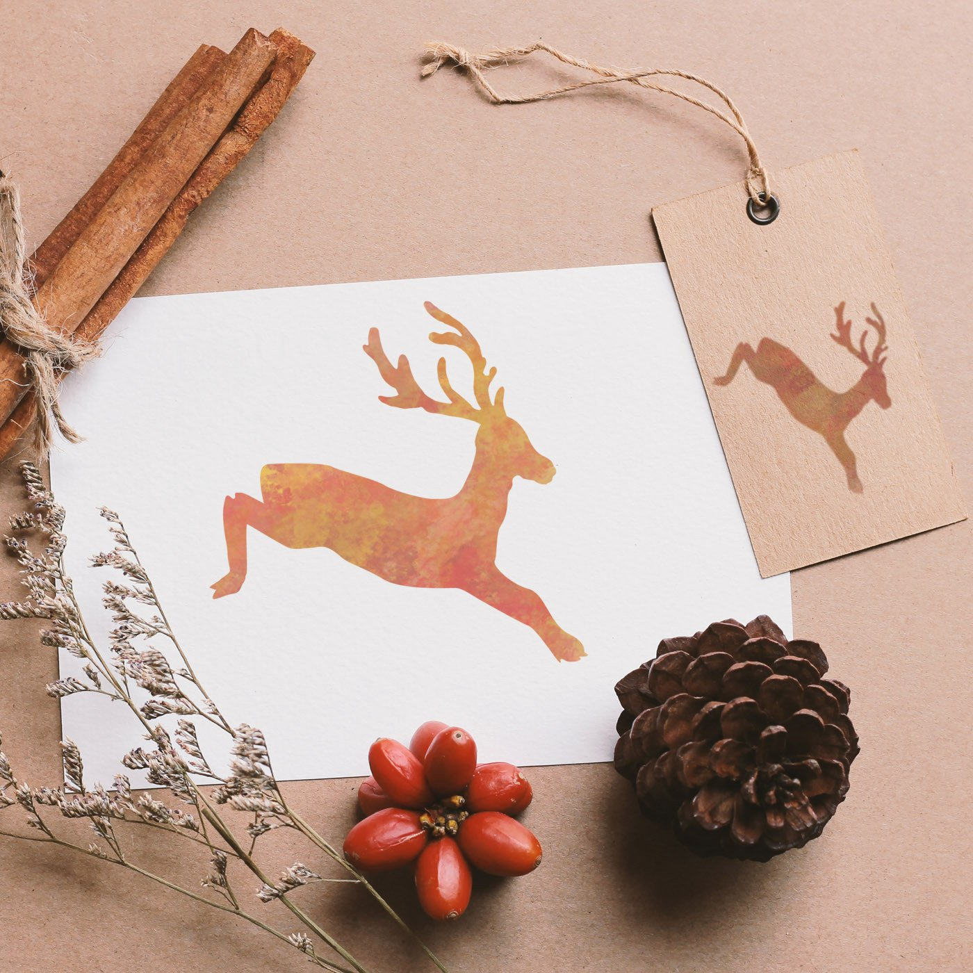 CraftStar Leaping Stag Stencil on card