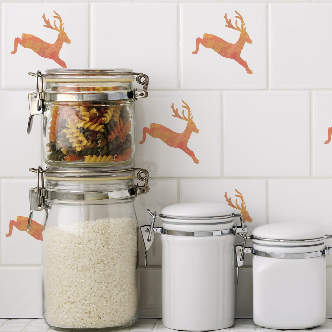 CraftStar Leaping Stag Stencil on tiles