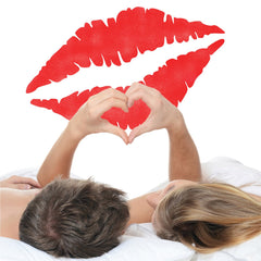 Lip Print Wall Stencil for Couples