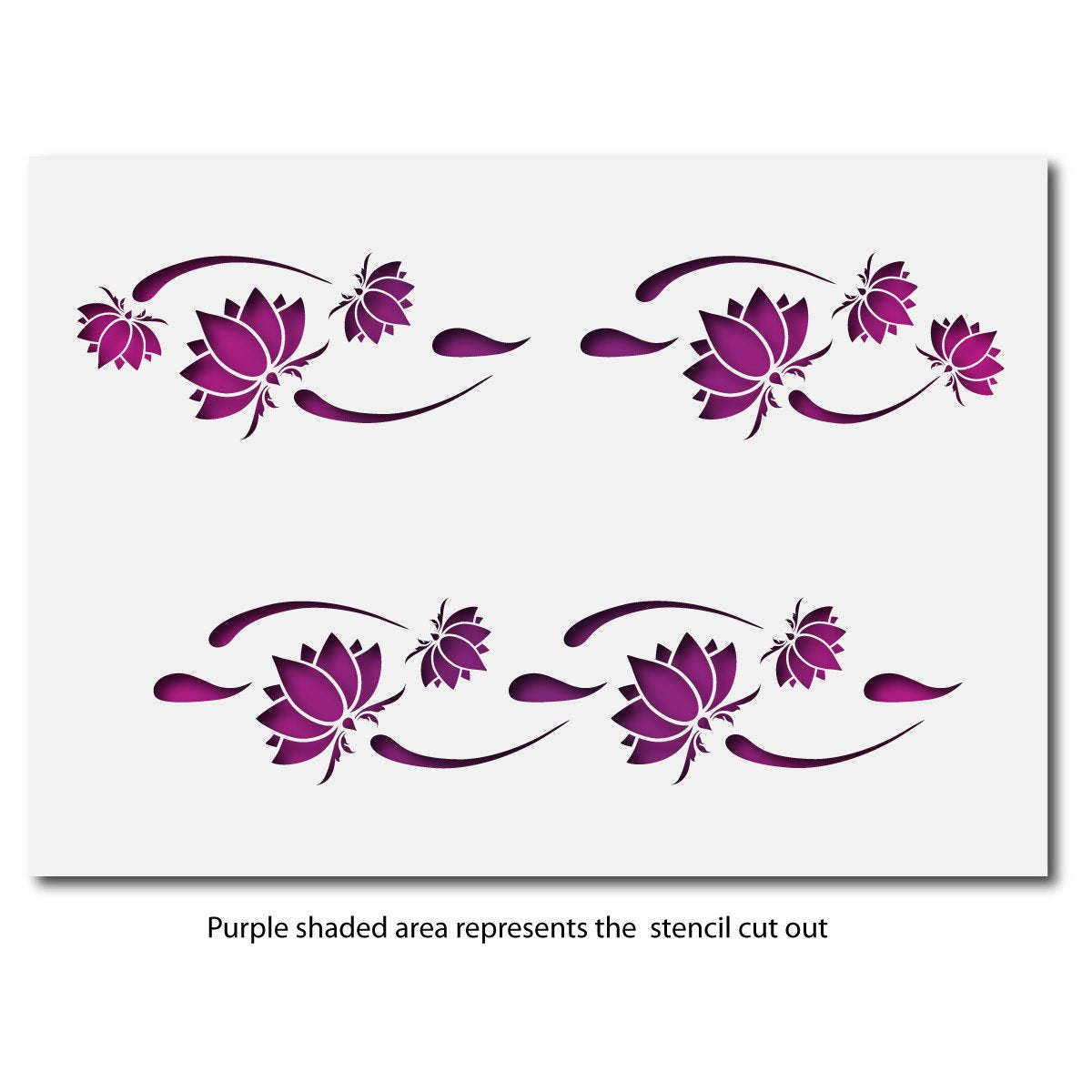 CraftStar Lotus Flower Border Stencil Layout