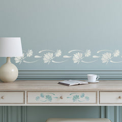 CraftStar Lotus Flower Border Stencil in white