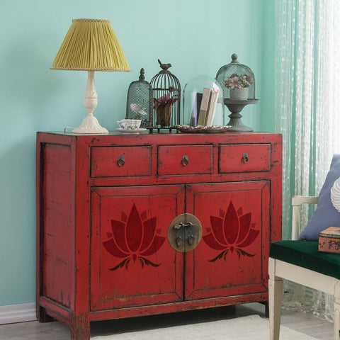 CraftStar Lotus Flower Stencil on furniture