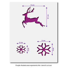 Mini Reindeer and Snowflakes Stencil Set - Size Guide