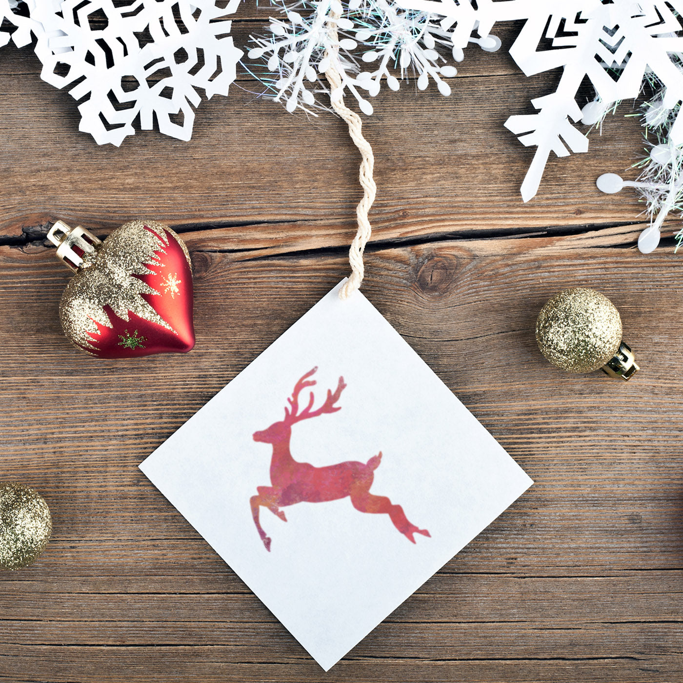 Mini Reindeer and Snowflakes Stencil - CraftStar