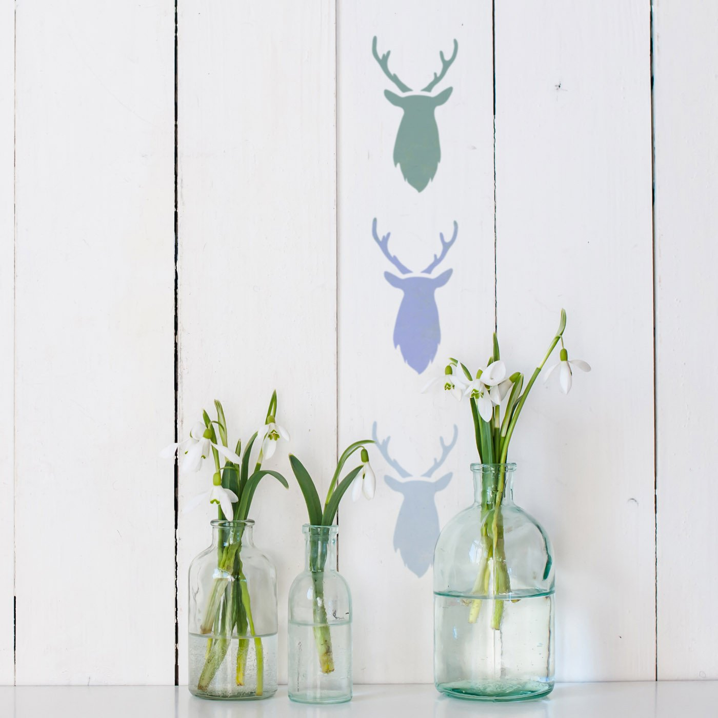 CraftStar Mini Stag Head Stencil on Wall
