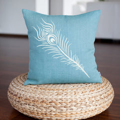 CraftStar Peacock Feather Stencilled onto Cushion
