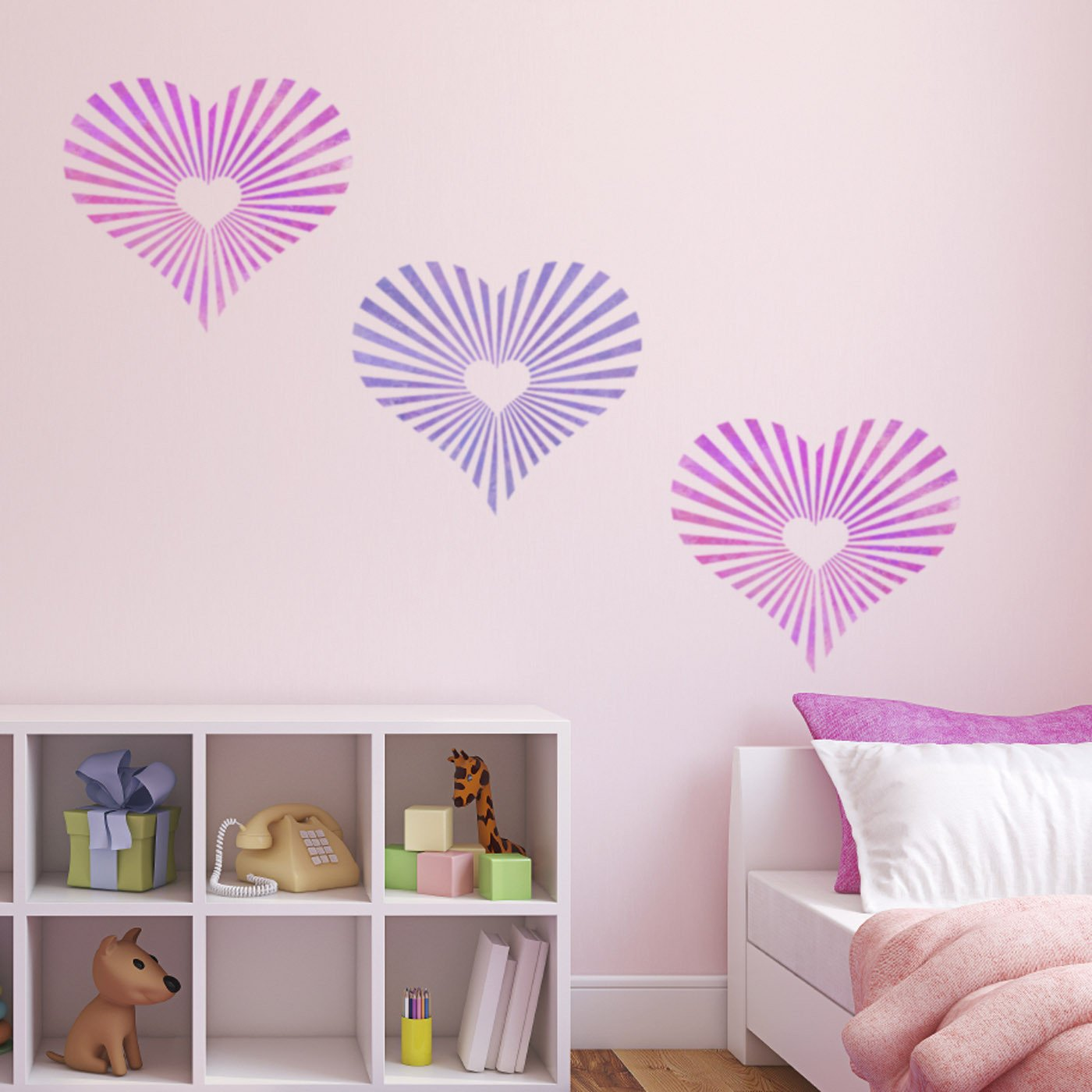 CraftStar Sunburst Heart Pattern Stencil in pinks