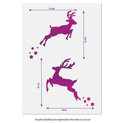 CraftStar Small Reindeer Stencil - Size Guide