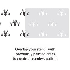CraftStar Stag Heads Repeating Pattern Stencil Guide