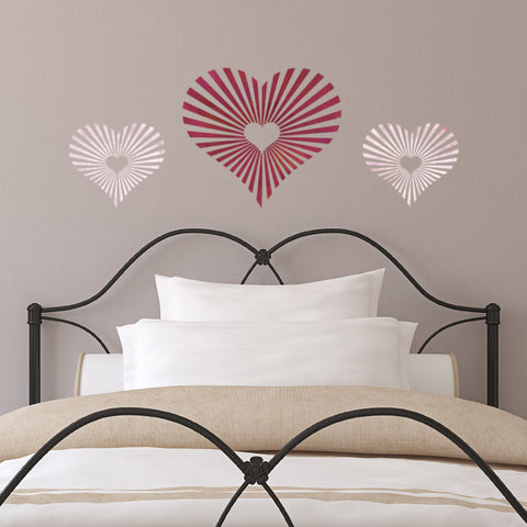 CraftStar Sunburst Heart Stencil on Bedroom Wall