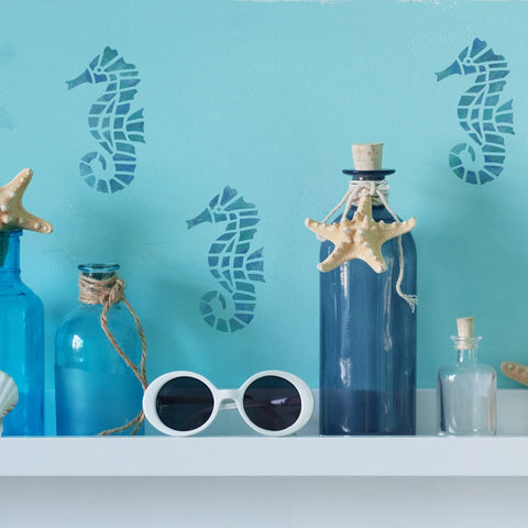 Craftstar Sea Horse Stencil on Bathroom Wall